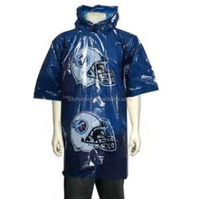 Men Cheap Plastic Hooded Rain Poncho With Sleeves