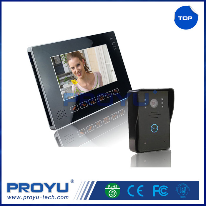 "New Ultra Slim 9"" Wired Handfree Video Door Phone with Waterproof Unlock Monitor Intercom Used for Villa Home Office etc"