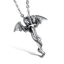 Mens Stainless Steel Cool Demon Legend Horror Sword Dragon Necklace