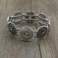 2016 Bohemian Bangle Women Jewelry Four Direction Pulseras Vintage 18mm metal ginger Snap Button Bracelet