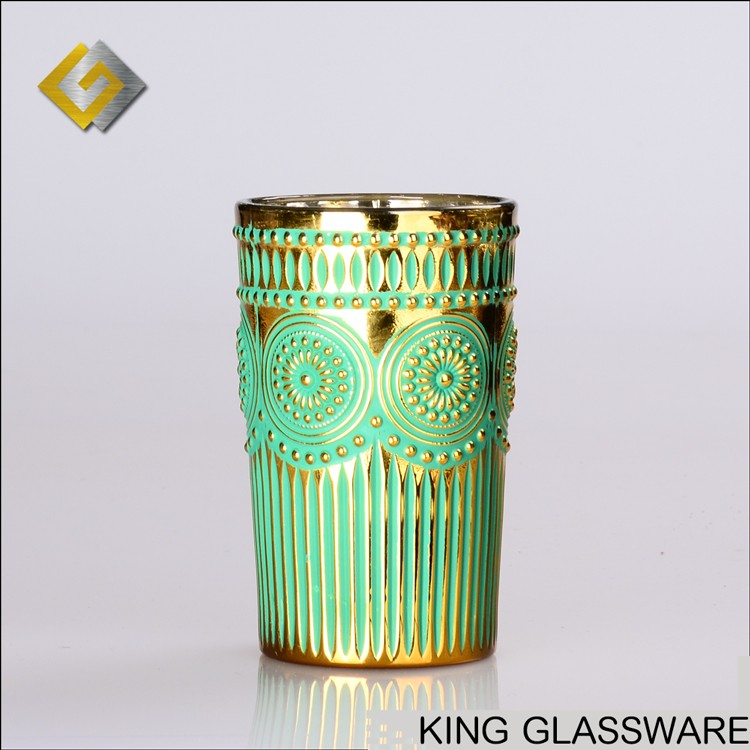 Custom made OEM personalized gold painted 500ml pint thick glass tumbler cup tubular penrack wholesale