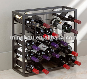 25 Bottle square metal wine rack metal stackable wine bottle holder