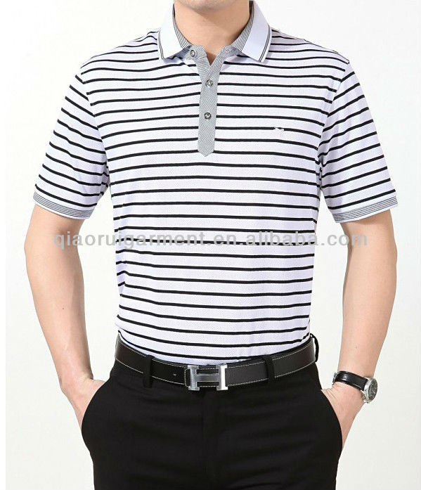 Trendy design striped short sleeve formal polo shirts for men