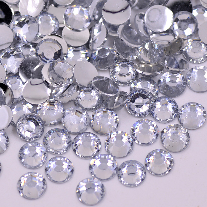 Wholesale 2 3 4 5 6 mm Clear White Crystals Flat Back Round Nails Crystal Stones Non Hotfix Resin Rhinestones for Crafts