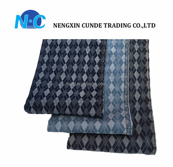 NC factory rhombus pattern 65%C 1%SP 34%T spandex special jacquard jeans fabric