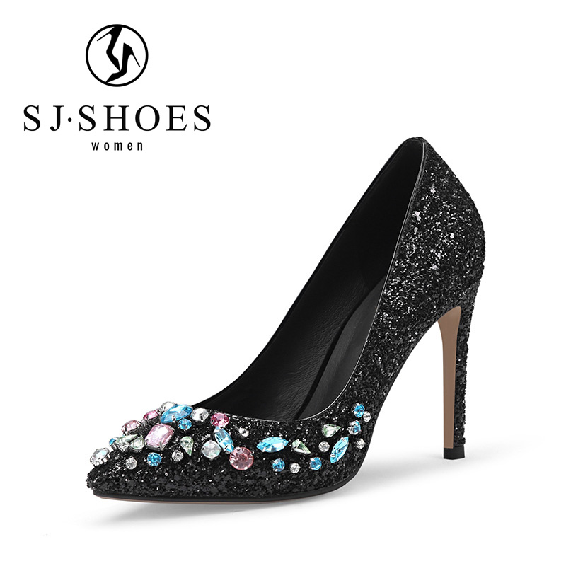 5554 easily wear dubai ladies glitter dress shoes with beautiful rhinestone high heels dress shoes online