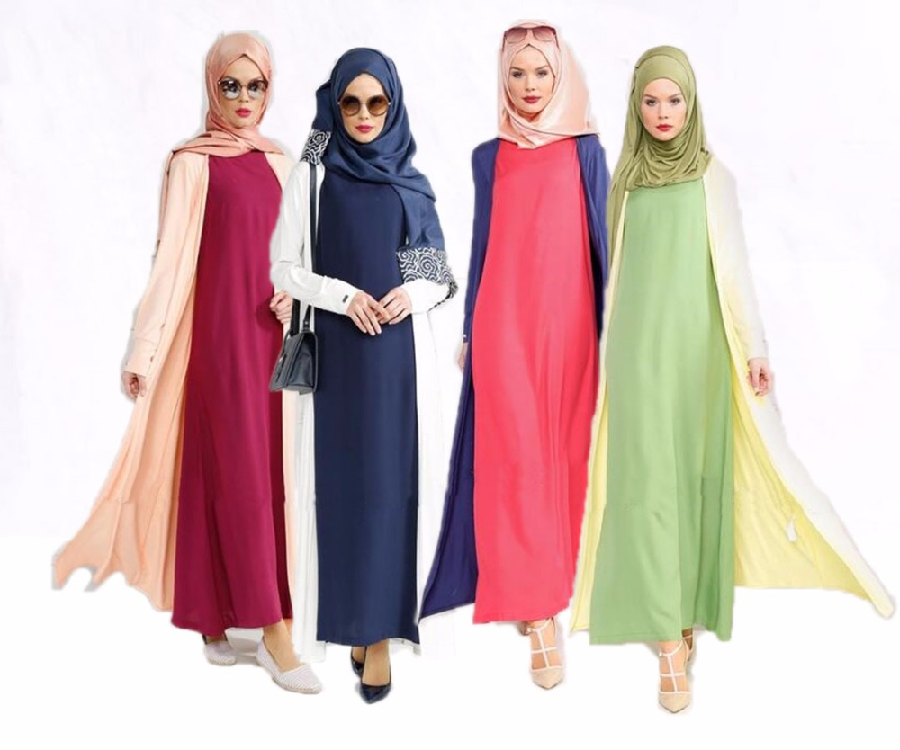 two pieces muslim kimono abaya dress arabic abaya designs long sleeve cardigan crape kaftan