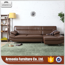 Leisure l shaped brown leather couch