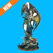 custom angel hand decorative paintable dragon and fairy statues