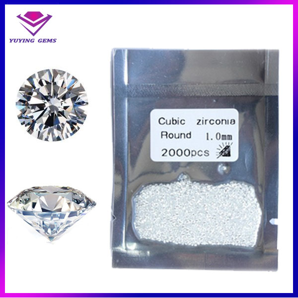 1.0mm bright cubic zirconia cz gemstone round synthetic gems cubic zircon price