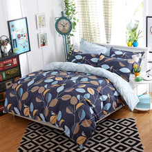 Modern Single Queen Bed Set Pillowcase Quilt Duvet Cover Leaf Small Bird Blue C