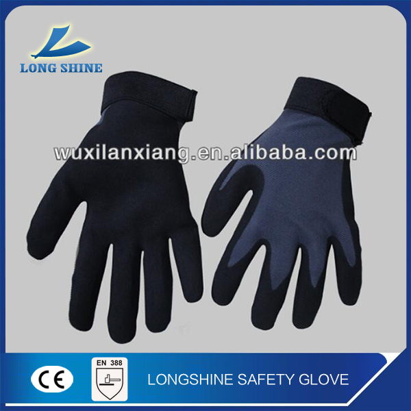 Wholesale 10G cotton black nitrile coated cut resistant adjustment cuff hand gloves for construction work