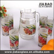 6pcs 8oz glass cup and 1pc glass pitcher custom decaled teapot,clear glass kettle,drinking glass set GB12017/TH004
