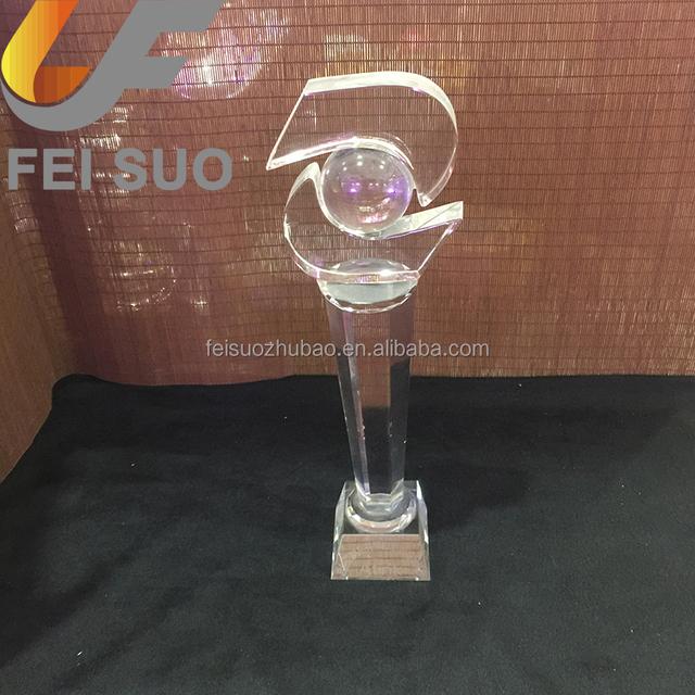 Sports souvenir crystal tennis ball trophy awards