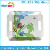 Eco-friendly unbreakable bulk cheap rectangular hot sale melamine serving tray with handle