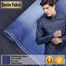 w2459 factory price dark blue twill denim cotton t shirt fabric 100