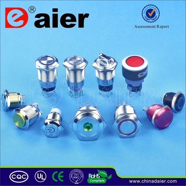 Daier waterproof electronical ip65 illuminated led push button switch