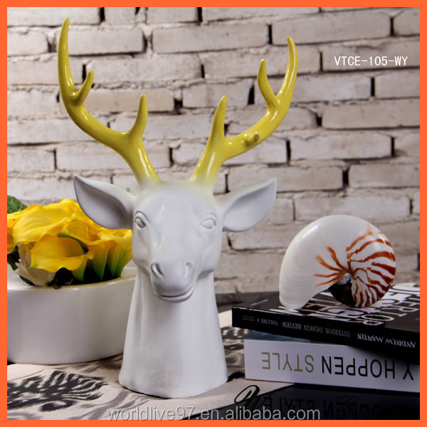 VTCE-105-WS Large White&Silver Deer Head Sculpture for House/Wall Decor