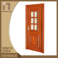 Home Front Brown Color Safty Half Frosted Glass Interior French Doors