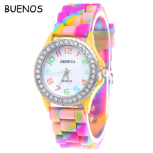 Geneva Colorful Silicone Strap Student Quartz Sports Watches for Womens