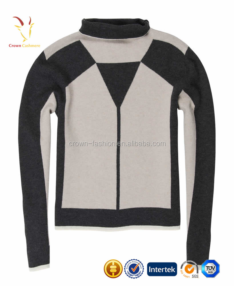 Intarsia Color-Block Winter Heavy Cashmere Pullover Sweater for Women
