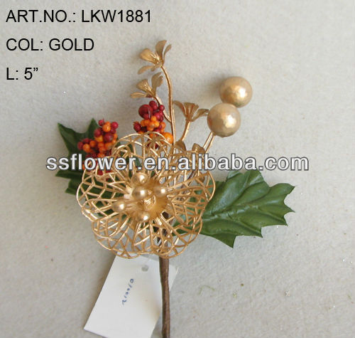 "New Artificial Christmas Gold Flower Pick 5"" Artificial Rose Flower With Berries"