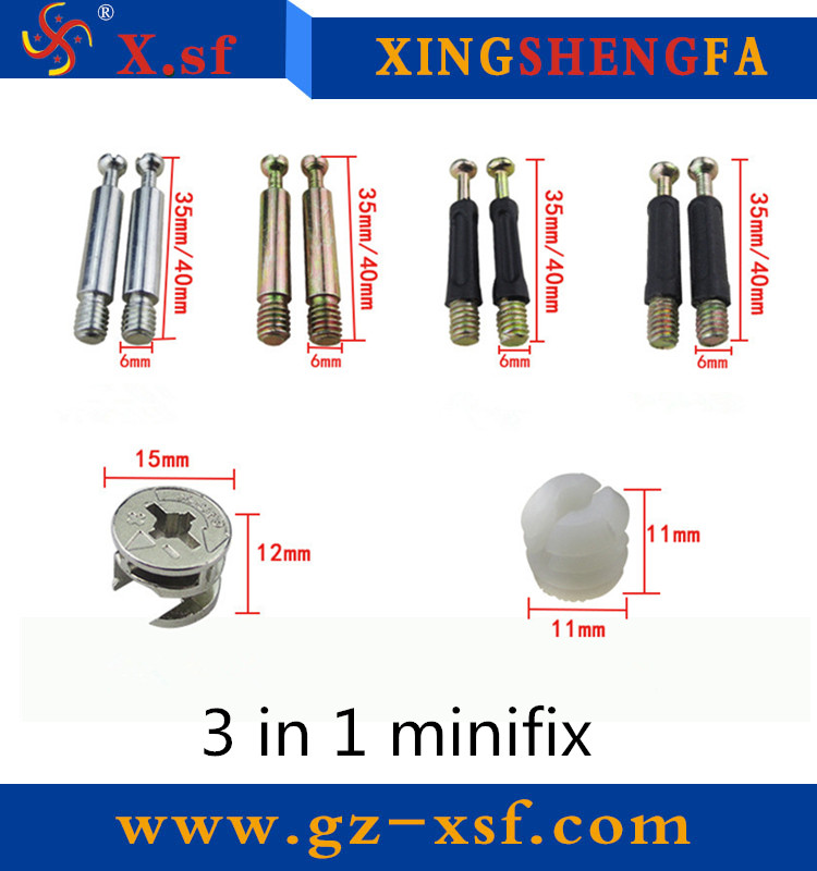 High quality furniture minifix connecting fitting 3 in 1 minifix