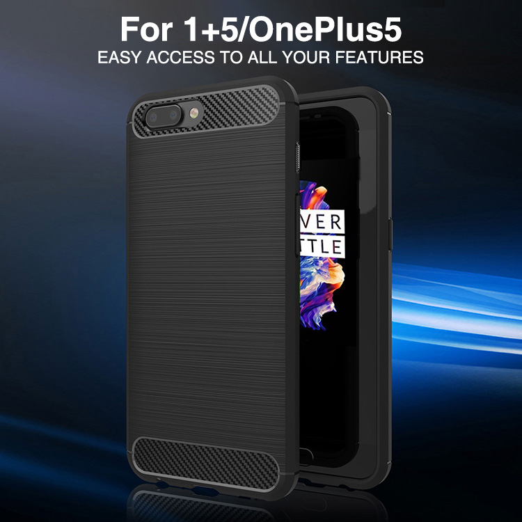 Phone accessories mobile carbon fiber shock proof cover for one plus 5 anti fingerprint cooling case for oneplus 5 case