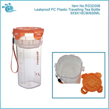 Portable Travel Leakproof PC Green Tea Bottle with Tea Strainer