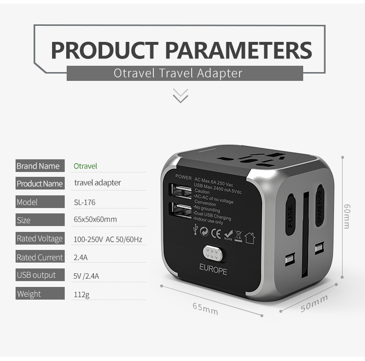 Innovative gadget mobile devices premium gift Best travel adapter promotional products 2019