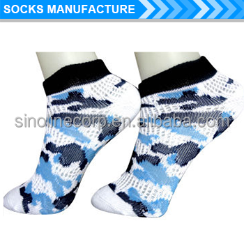 Women's pointelle pattern ankle socks with jacquard designs camouflage
