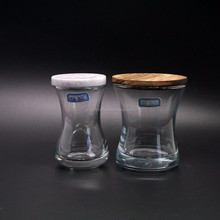 Unique shape clear glass container with wooden lids glass candle jar