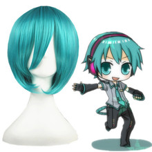 High quality 14inch VOCALOID Mikuo cosplay green short synthetic hair anime wig