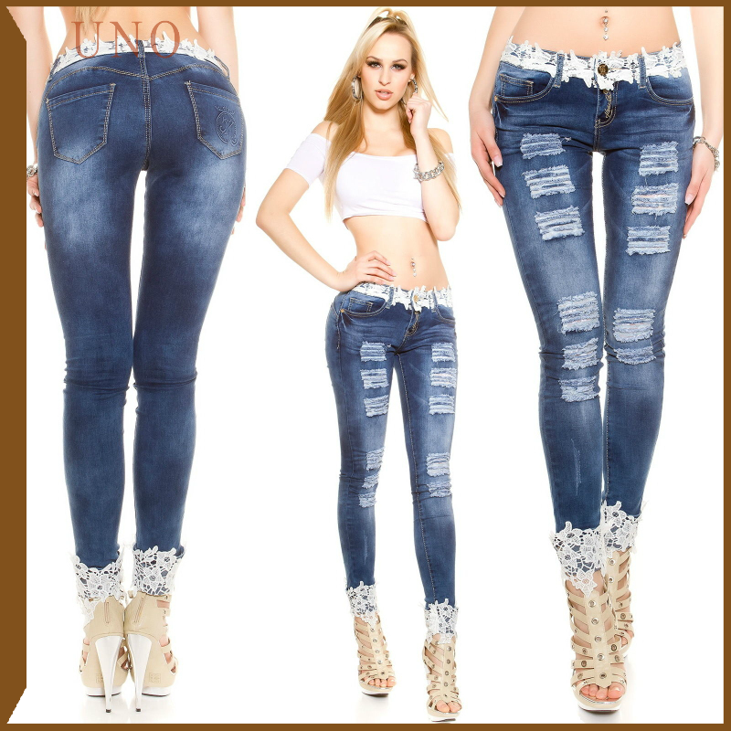 W0114 2017 New Arrival Sexy Woman Elegant Lace Jeans Woman Skinny Jeans