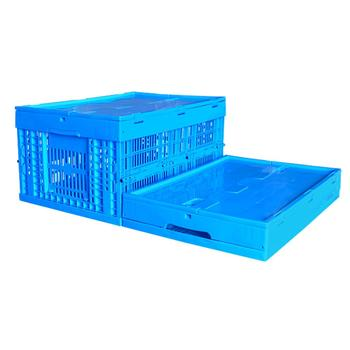 food grade stackable plastic fruit foldable vegetable basket ventilated container crates with lid