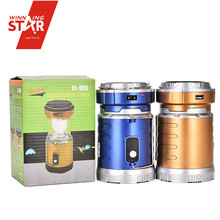 Yiwu Wholesale Cheap Blue Solar Camping Lights Rechargeable LED Camping Lantern