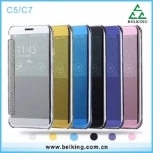 Newest Luxury Clear View Mirror Flip Electroplating Phone Leather Cover for Samsung Galaxy C5 C7 Smart case