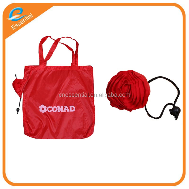 Polyester folding rose shopping bag