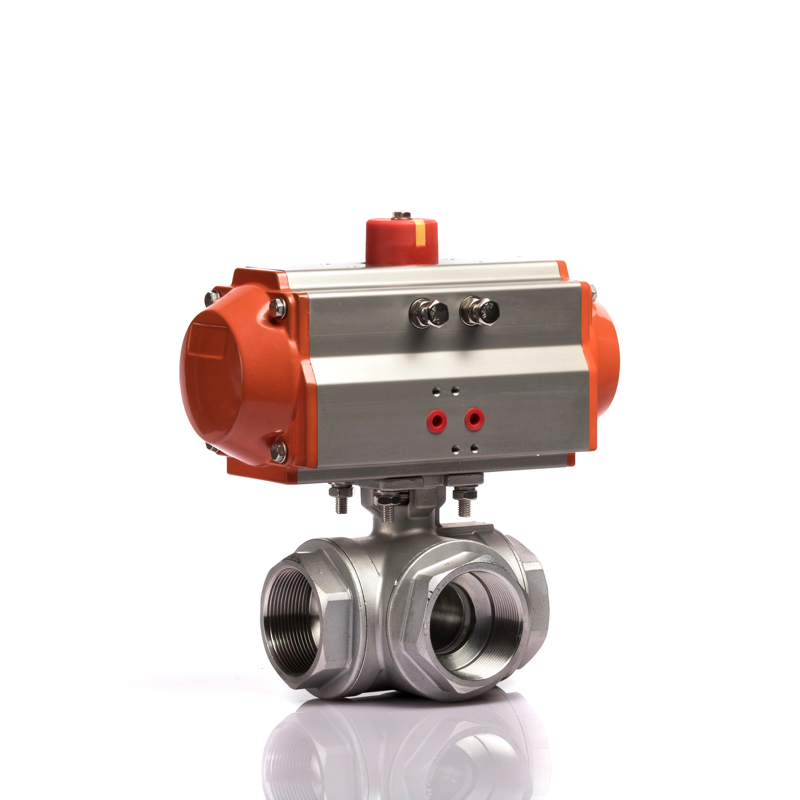 Pneumatic Actuator Screw Thread L/T Type 3 Way Ball Valve