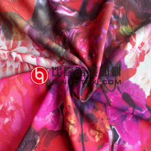 Polyester India Digital Print Chiffon Silk fabric Wholesale for Women Garment