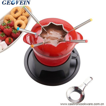 Enamel cast iron cheese fondue with Forks and Rechaud