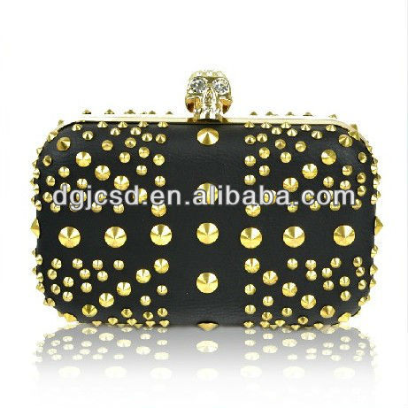 Factory sell most popular wholesale designer skull studs evening clutch bag
