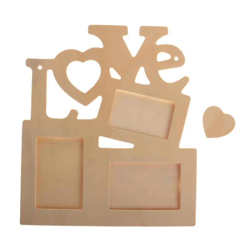 Hot Fashion Photo Frame Hollow Love Wooden White Base DIY Picture Frame Art Decor Free Shipping