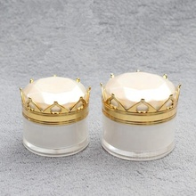 Hot sale gold crown 20g luxury cosmetic face cream jar <strong>containers</strong>