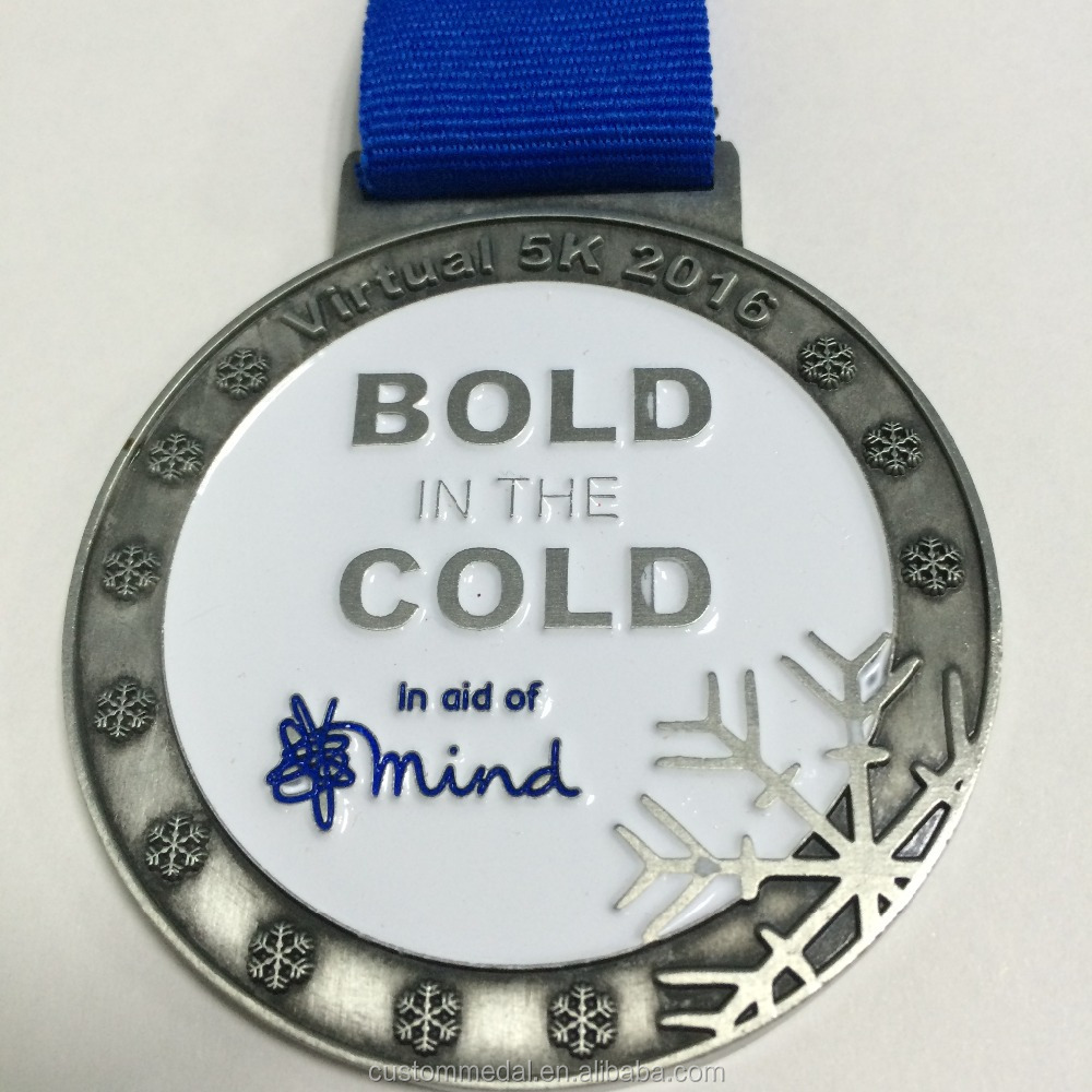 customized 5k medal with building logo and custom wording engraved as finisher medal