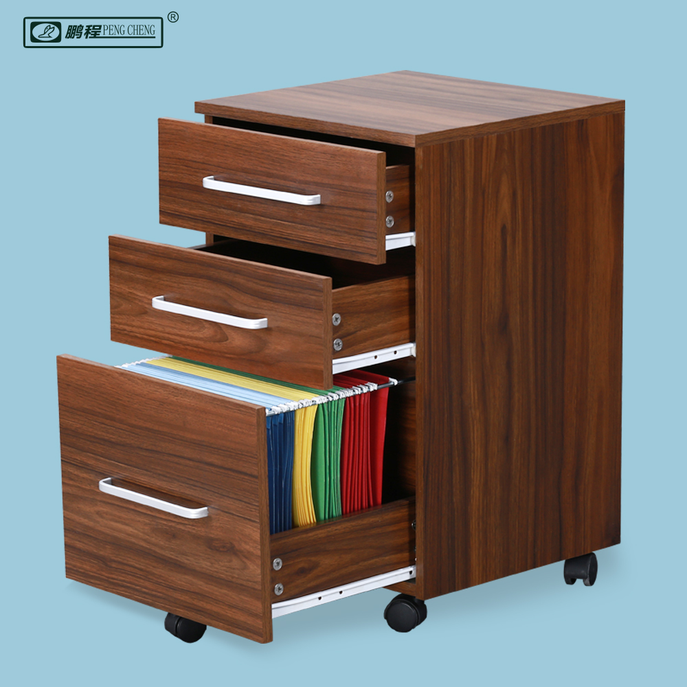 Fully Assembled 3 Drawer Wooden Walnut Stylish Filing Cabinets