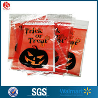 FDA approved customized size and shape colorful logo printed pp plastic candy loot packing gift bag for Halloween decoration