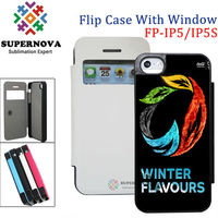China Suppplier SUPERNOVA Blank Sublimation Flip Case with Window for iPhone 5 5S