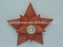 Good Sale 11-3/4''H Wooden Star Peg Plastic Hook Home Decoration