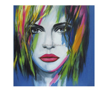 Handmade Colorful Portraint Women Oil Painting